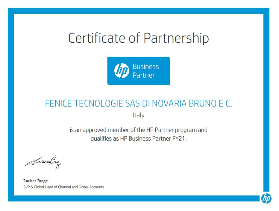 Certificato HP Business Partner FY21
